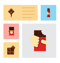 Flat icon chocolate set of chocolate bar cocoa vector