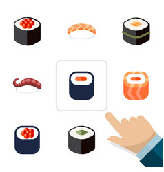 flat icon maki set of maki sashimi japanese food vector image