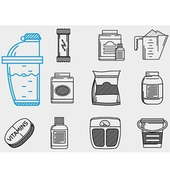 Flat line icons collection for sports vector image