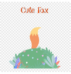 Fox tail sticking up above field with leaves vector