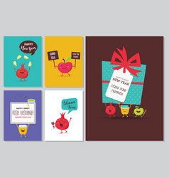 Greeting cards with funny cartoon characters for vector
