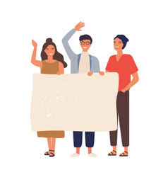 Group people with empty banner flat vector