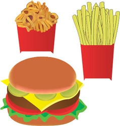 Hamburger and fries vector