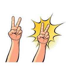 Hand gesture of victory or peace two fingers up vector