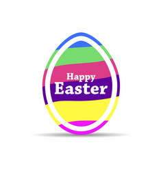 happy easter easter egg with colorful stripes vector image