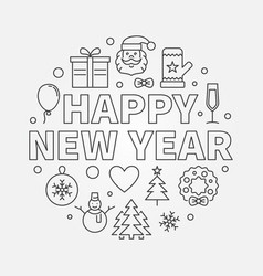 happy new year round in line vector image