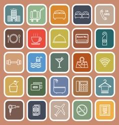 Hotel line flat icons on orange background vector image vector image