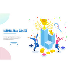 isometric business team success leadership vector image