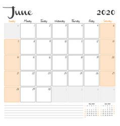 June 2020 monthly calendar planner printable vector
