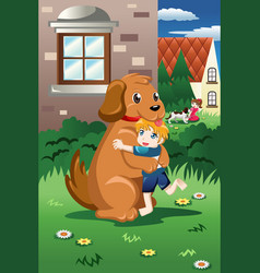 kids playing with their dogs vector image