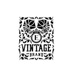Letter e vintage logo design vector