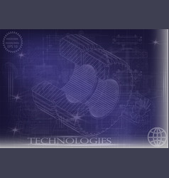 machine-building drawings on a blue background vector image