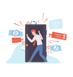 Man keeps door closed vector