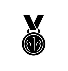 medal first place black icon sign on vector image