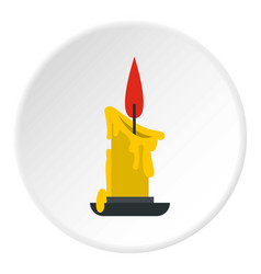 melting candle icon circle vector image vector image