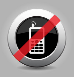 Metal button white old mobile phone banned icon vector