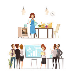 Motherhood cartoon work family concept vector