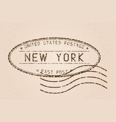 new york mail stamp old faded retro styled vector image