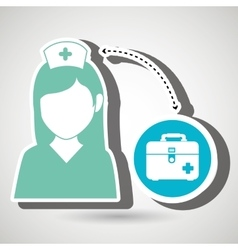 Nurse and first aid kit isolated icon design vector