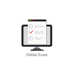 online exam logo icon internet education concept vector image