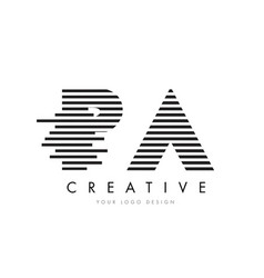 pa p a zebra letter logo design with black and vector image