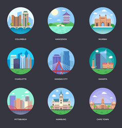 Pack of world cities 8 vector