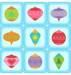 Pattern with Christmas tree ornaments vector