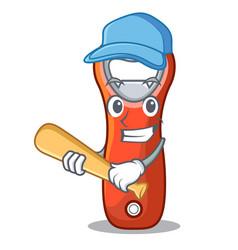 Playing baseball beer bottle opener isolated on vector