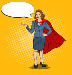 Pop art happy super business woman in red cape vector