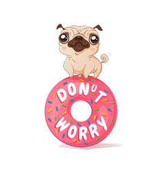 pug and donut in kawaii style vector image