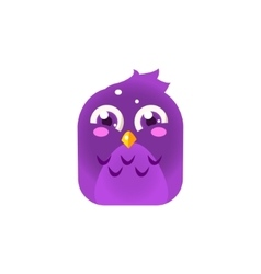 Purple Giggling Chick Square Icon vector