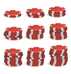 red poker chips stacks 3d realistic set vector image