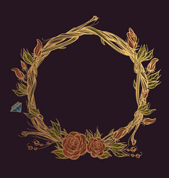 Round golden frame made of branches with roses vector