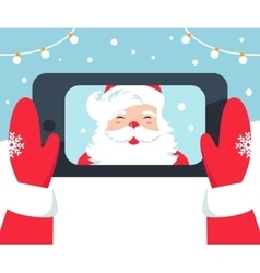 Santa Claus Taking Selfie Photo with Phone vector image