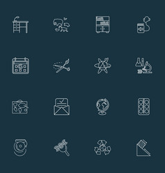 School icons line style set with zoology globe vector