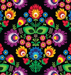Seamless traditional floral Polish on black vector image