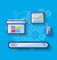 search engine optimization set icons vector image