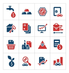 Set color icons of investment and finance vector