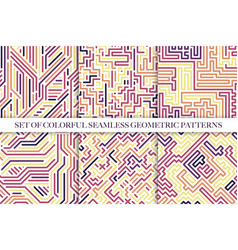 set colorful striped seamless patterns vector image