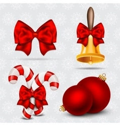 Set of realistic Christmas icons vector