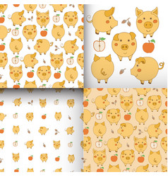 Set of seamless yellow-white patterns with pigs vector
