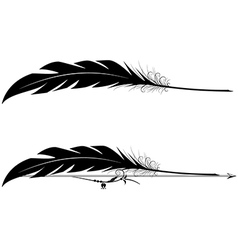Set of vignettes with feather pen vector