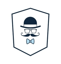 shield with hat glasses mustache bowtie icon vector image