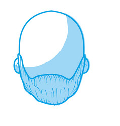 Silhouette nice man face with beard and bald vector