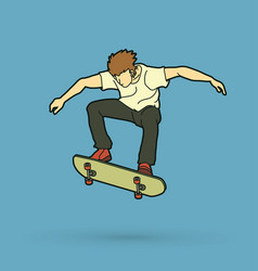 skateboarder jumping skateboarding action vector image