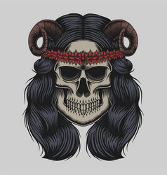 skull demon girl vector image