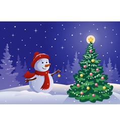 Snowman decorating a tree vector image