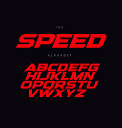 Speed letters set red race font italic bold vector