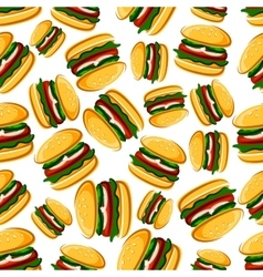 Steak burgers seamless pattern background vector image