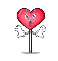 Surprised heart lollipop mascot cartoon vector
